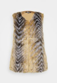 Missguided - CHEVRON TIPPED FUR GILET - Waistcoat - beige - 4