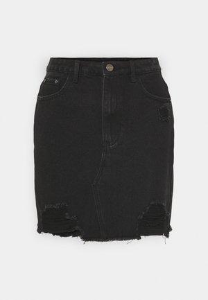 RIPPED MINI SKIRT - Denimová sukně - black