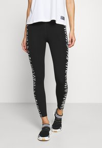 DKNY - HIGH WAIST ZEBRA PLACED PRINT - Leggings - white - 0
