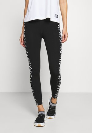 HIGH WAIST ZEBRA PLACED PRINT - Punčochy - white