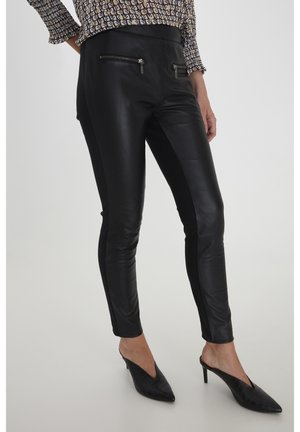 FRNALEATHER - Leather trousers - black