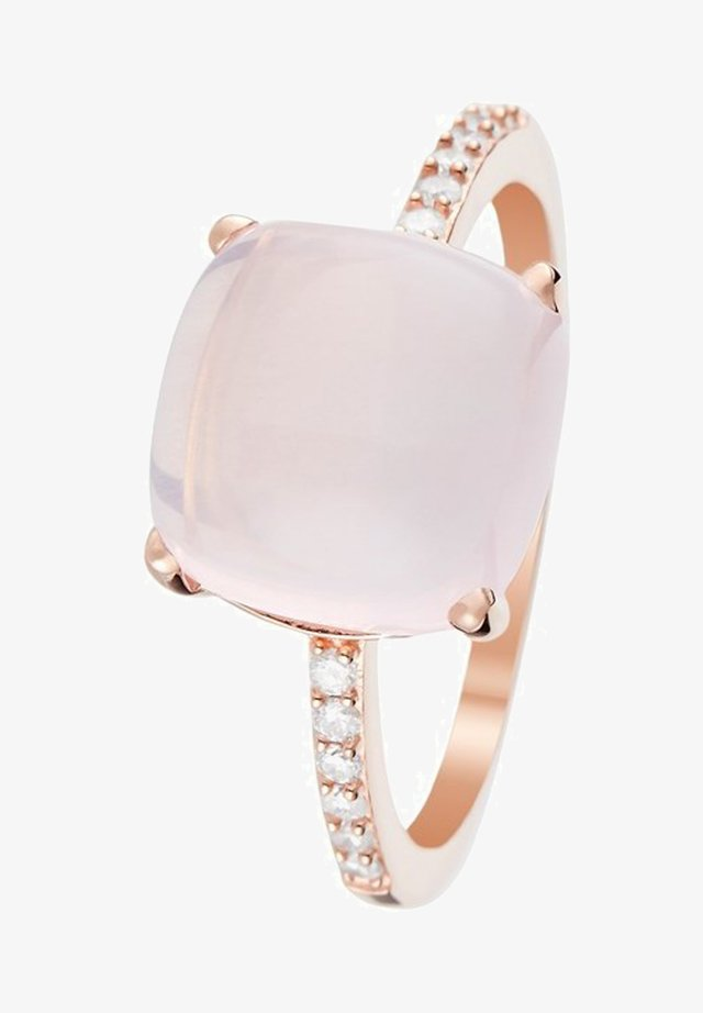 9K ROSE GOLD RING CERTIFIED PINK QUARTZ 4.8 CTS AND 12 DIAMONDS HP1 0.11 CT - Bague - pink