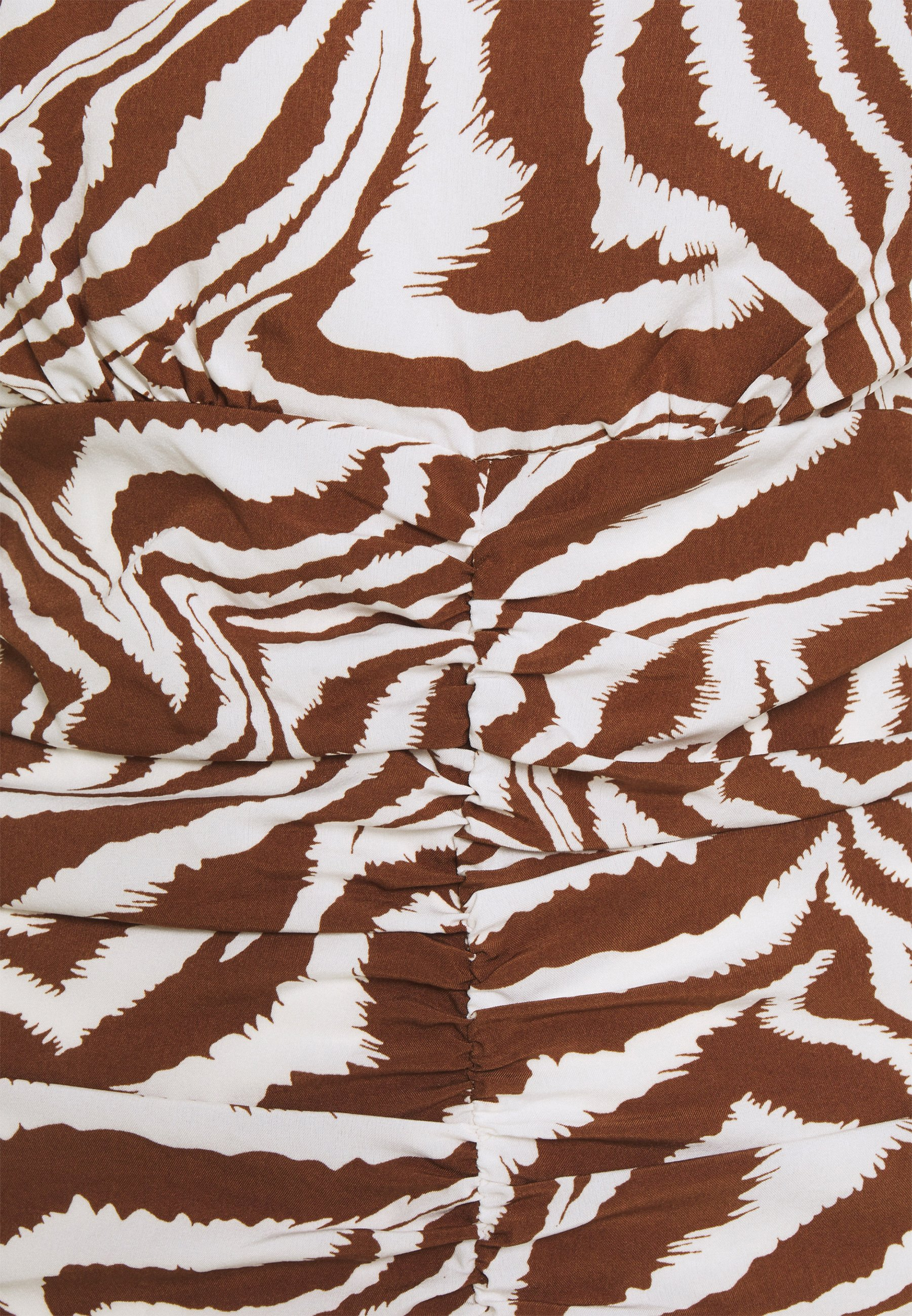 Women HIGH NECK RUCHED FRONT ZEBRA - Blouse