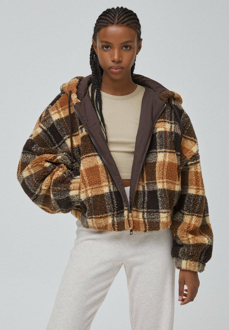 PULL&BEAR - Fleece jacket - dark brown