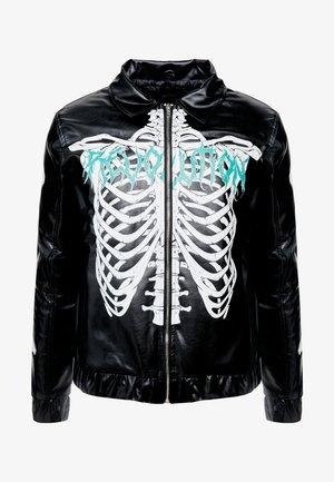 SKELTON COACH JACKET EXPOSED METAL ZIP - Faux leather jacket - black