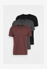 Burton Menswear London - SHORT SLEEVE CREW 3 PACK - T-shirt basic - black/charcoal/burgundy - 0