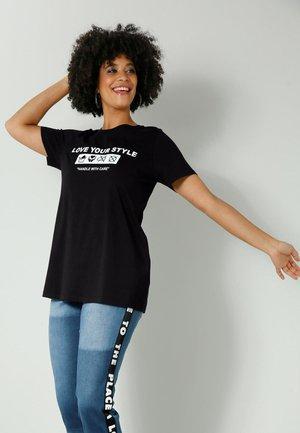Print T-shirt - schwarz,weiß