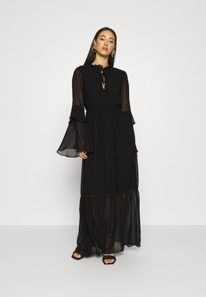 TIE NECK TIERED FLOOR SWEEPER DRESS - Robe longue - black