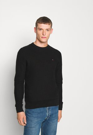 HONEYCOMB CREW NECK - Sweter - black