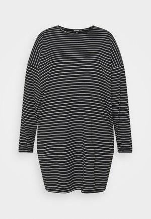 STRIPE LONG SLEEVE DRESS - Jersey dress - black