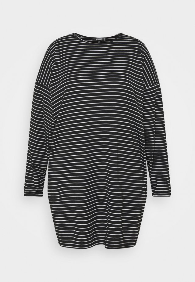 STRIPE LONG SLEEVE DRESS - Jersey dress - black