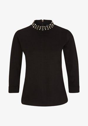 MIT SCHMUCKSTEIN-BESATZ - Long sleeved top - black
