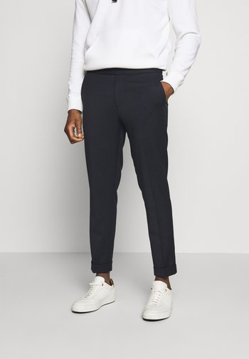 TERRY CROPPED PANTS - Pantalon classique - navy