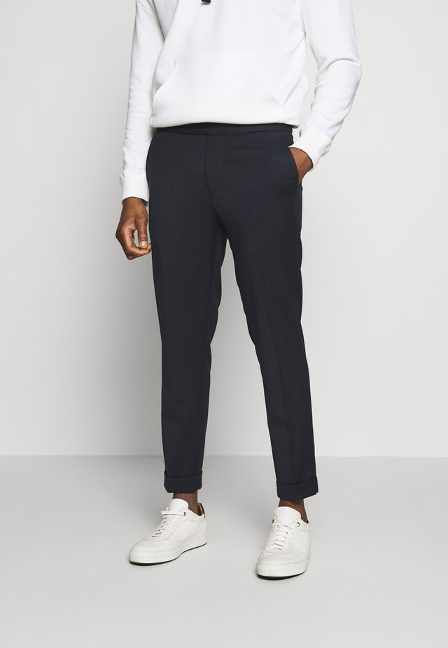 TERRY CROPPED PANTS - Trousers - navy