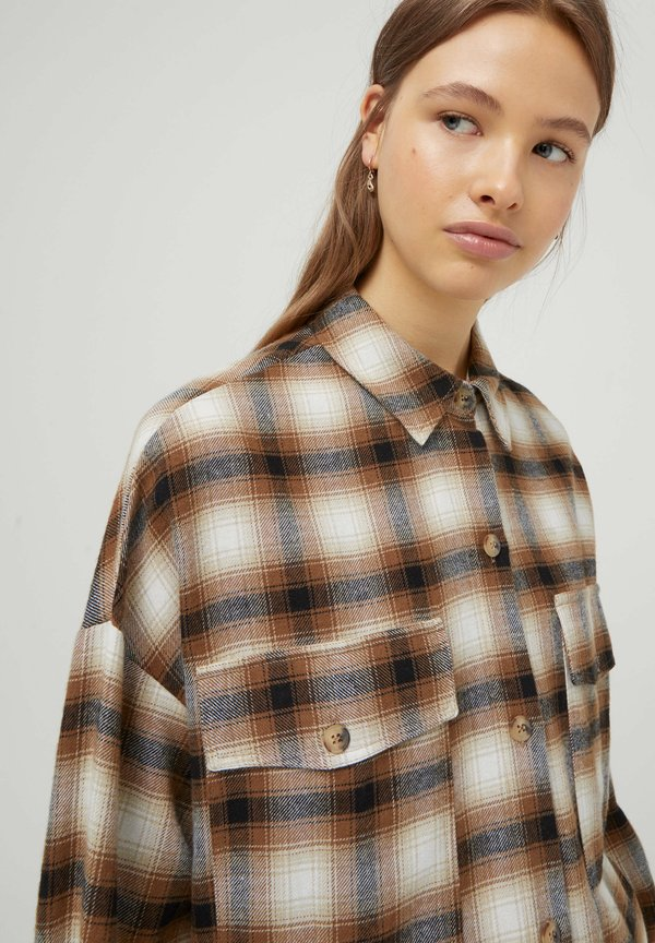 PULL&BEAR Koszula - mottled brown/brązowy melanż JEGX