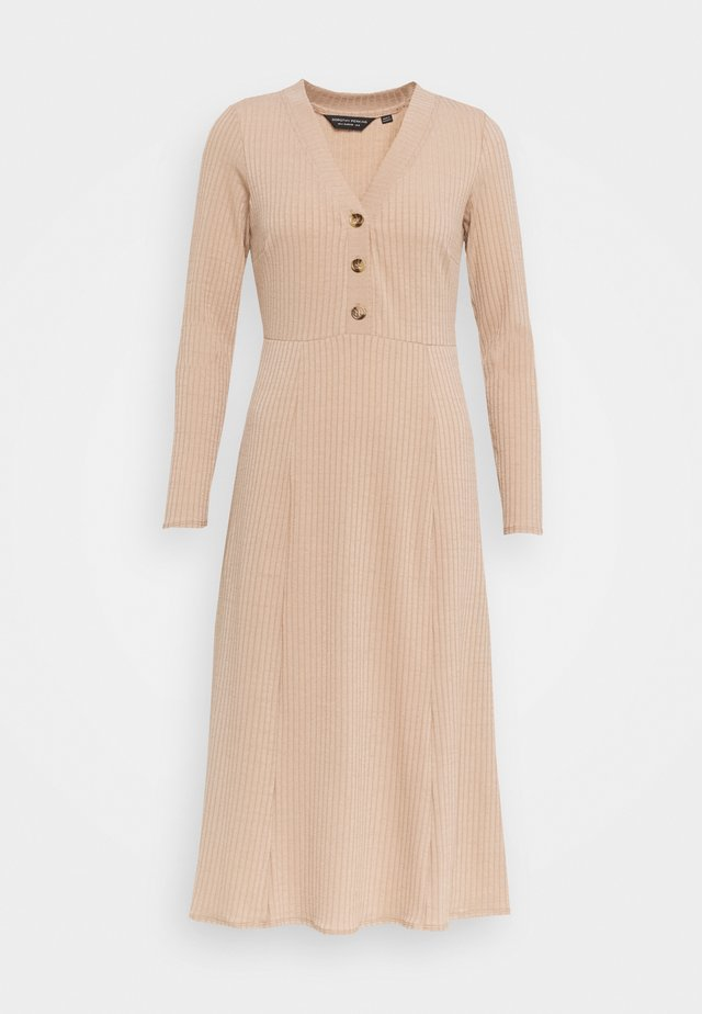 GINGHAM MIDI BUTTON FRONT DRESS - Day dress - camel