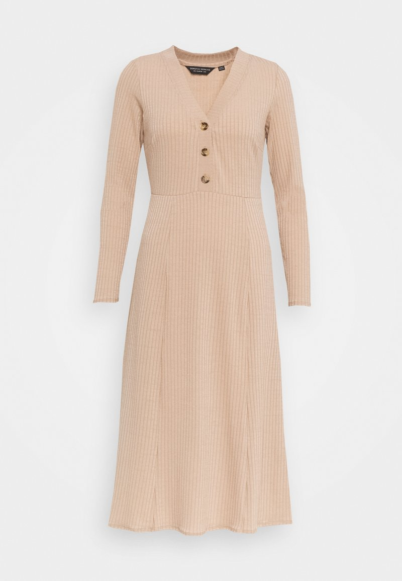 Dorothy Perkins - GINGHAM MIDI BUTTON FRONT DRESS - Day dress - camel