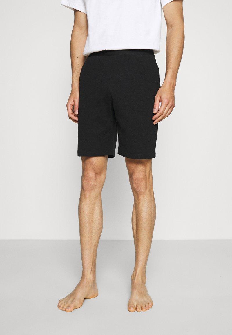 Pier One - LOUNGE HENLEY SHORTS - Pyjama bottoms - black
