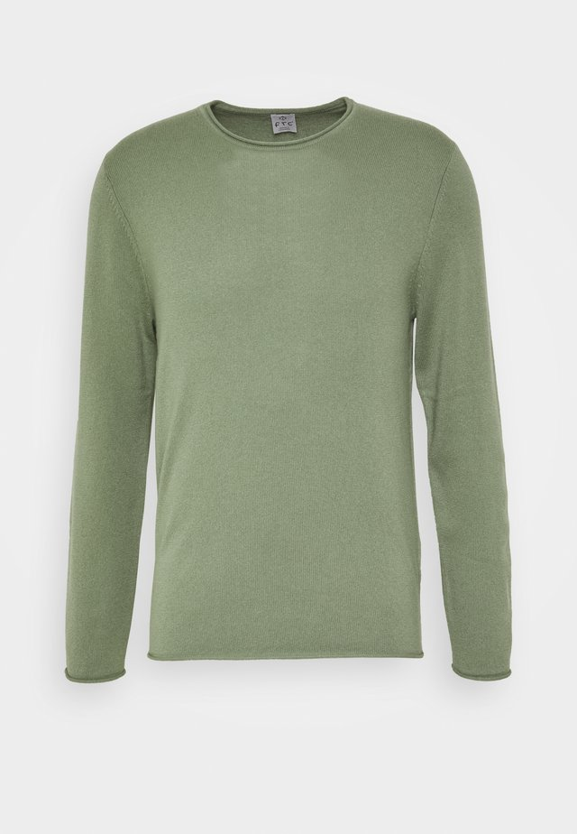 ROUNDNECK ROLLED EDGE - Stickad tröja - soft olive