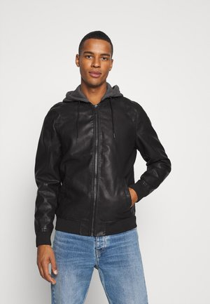 HOOD  - Faux leather jacket - black