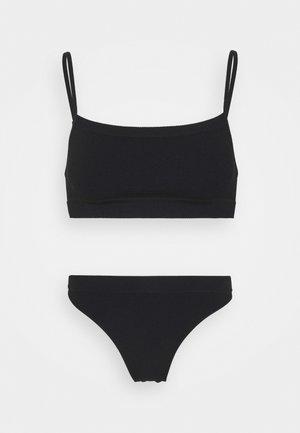 SEAMFREE STRAIGHT NECK CROP HI CUT BRASILIANO SET - Bustier - black