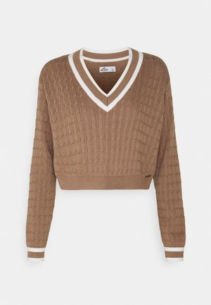 CROP EASY TIPPED V NECK - Pullover - light brown