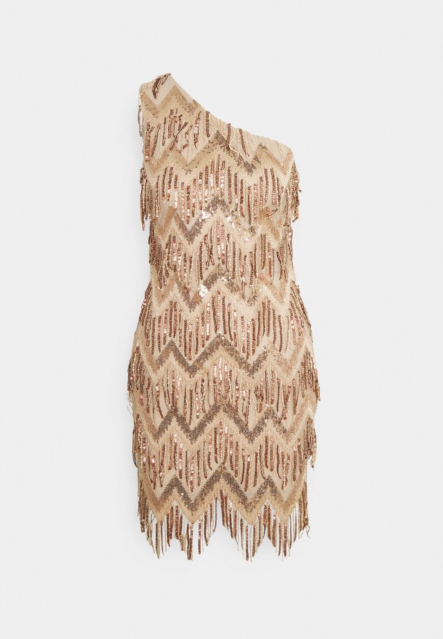 ONE SHOULDER ZIG ZAG SEQUIN MINI DRESS - Sukienka koktajlowa - champagne