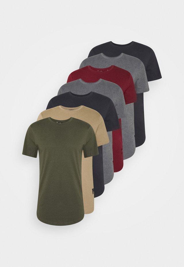 MATT 7 PACK - T-shirts basic - dark grey melange/dark blue/dark green/beige/dark red