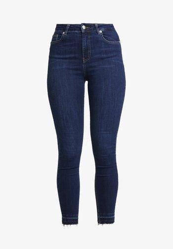 HIGH WAIST OPEN HEM - Jeans Skinny Fit - dark blue