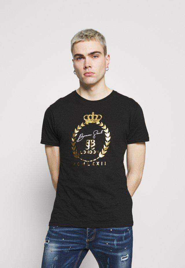 Print T-shirt - jet black/gold