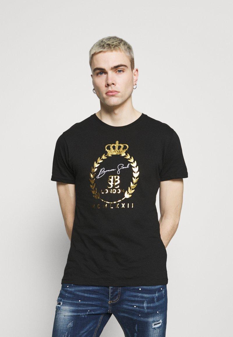Brave Soul - Print T-shirt - jet black/gold