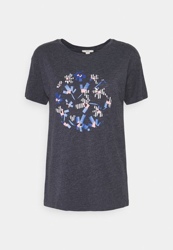 FLOWERS - Print T-shirt - navy