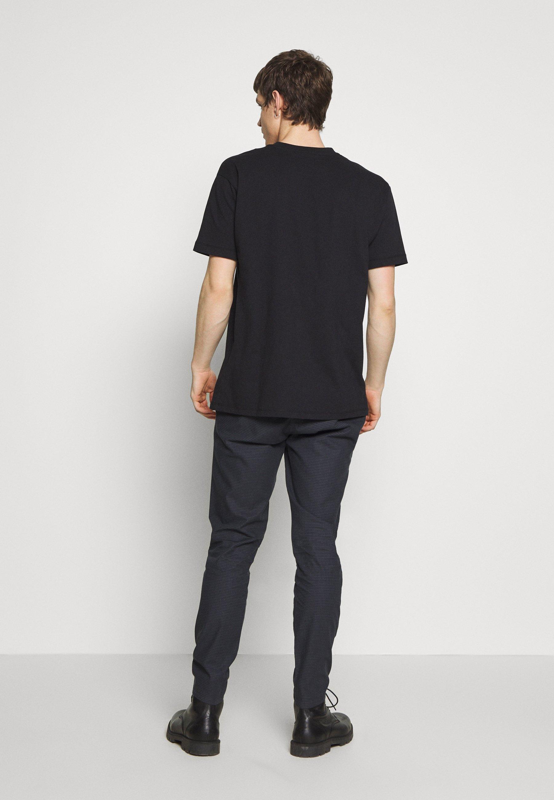 Burton Menswear London SKINNY TONAL DOGTOOTH - Trousers - navy