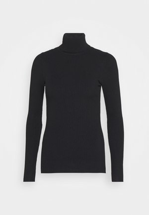 BASIC- RIBBED TURTLE NECK - Jumper - black