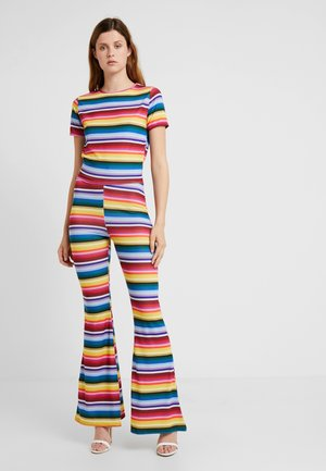 STRIPED AND FLARE TROUSER - T-shirt print - blue