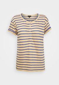 ROLL CUFF HENLEY STRIPE - Print T-shirt - yellow/sea marie
