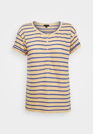 ROLL CUFF HENLEY STRIPE - Print T-shirt - yellow/sea marie