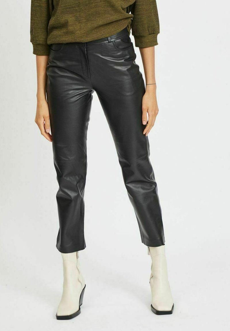 Vila - Leather trousers - black