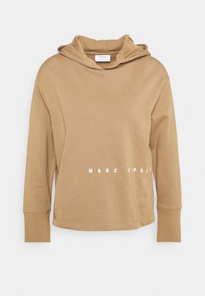 LONGSLEEVE HOODED LOOSE BODYFIT PLACED PRINT - Mikina s kapucí - milky coffee