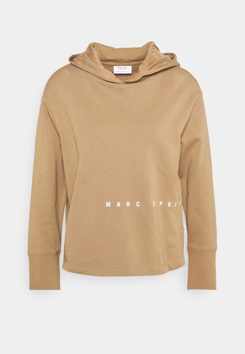 Marc O'Polo DENIM - LONGSLEEVE HOODED LOOSE BODYFIT PLACED PRINT - Mikina s kapucí - milky coffee