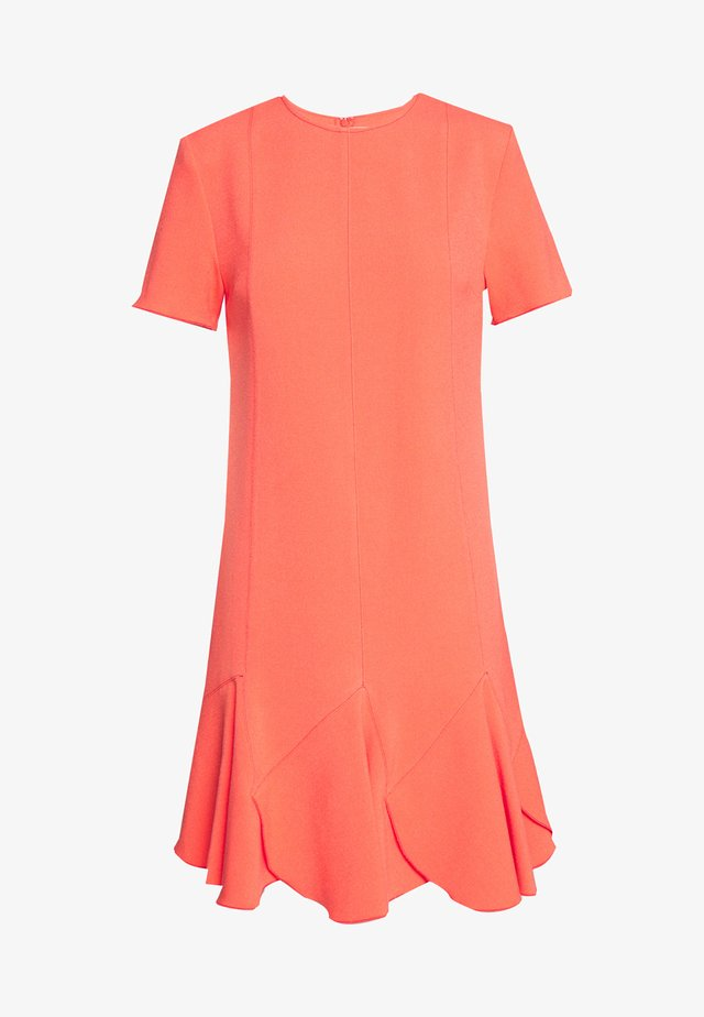 FLOUNCE SHIFT DRESS - Day dress - bright coral