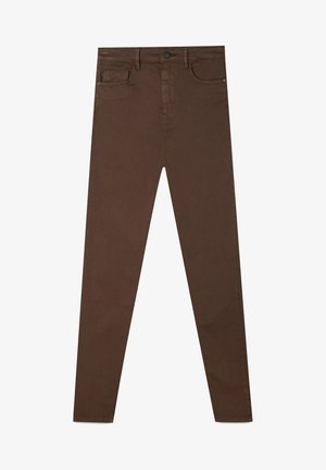 MIT SUPERHOHEM BUND  - Skinny džíny - anthracite/brown