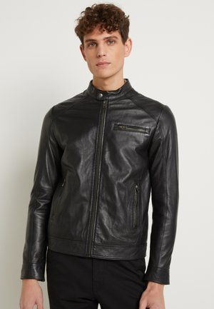 CLASSIC JACKET - Leather jacket - black