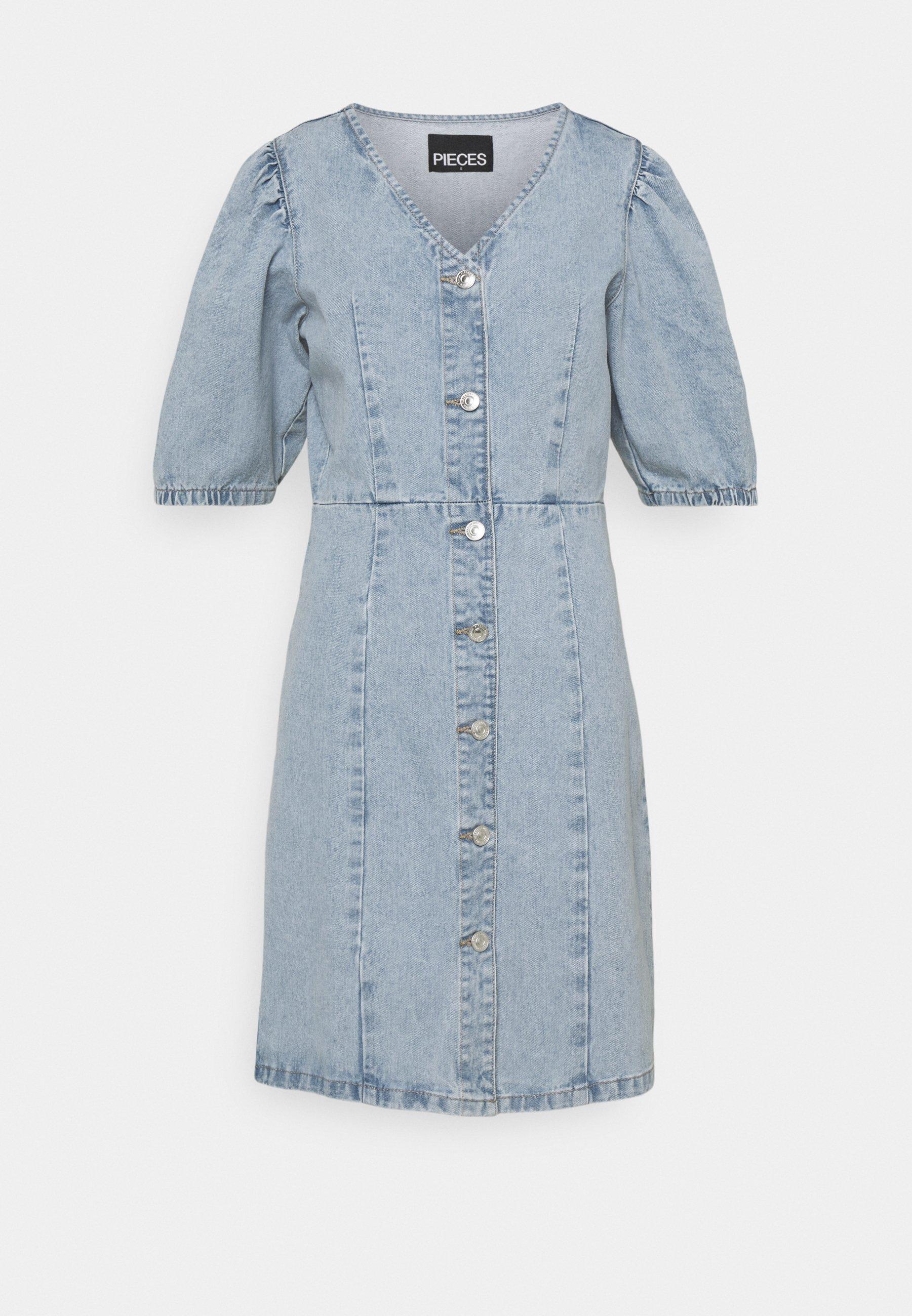 Women PCGILI V NECK DRESS - Denim dress