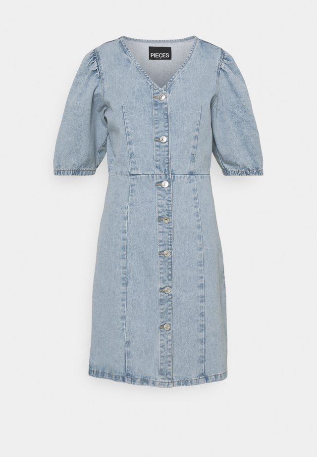 PCGILI V NECK DRESS - Denim dress - light blue denim
