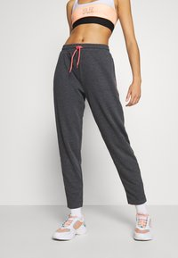 ONLY Play - ONPJOLIVIA PANTS - Pantalon de survêtement - dark grey melange/white/coral - 0