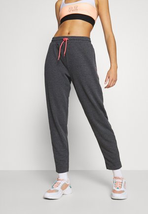 ONPJOLIVIA PANTS - Tracksuit bottoms - dark grey melange/white/coral