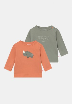 2 PACK - Long sleeved top - orange/khaki