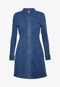 Noisy May Petite - NMLISA ZIP DRESS - Denim dress - medium blue denim - 4