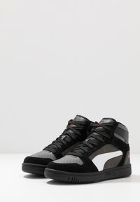 Puma - REBOUND LAYUP UNISEX - Korkeavartiset tennarit - black/castlerock/white/high risk red - 2